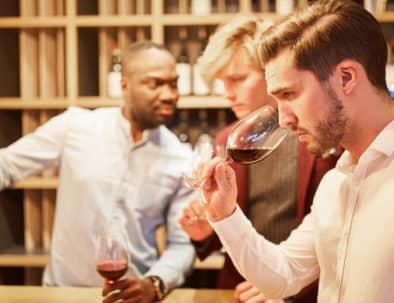 Friends tasting wine in Barcelona